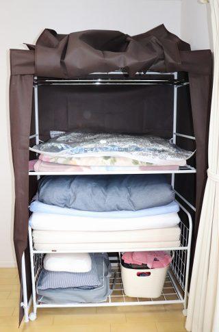 クローゼットや押入れがない部屋の収納におすすめ!ベルメゾン「カバー付きふとんラック」